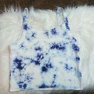 White tie-dye crop top